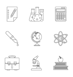 Study icons set outline style vector