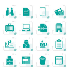 Stylized business and office elements icons vector