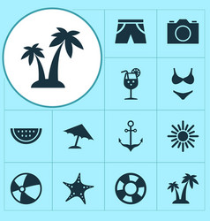 Sun icons set collection of bikini bead trees vector