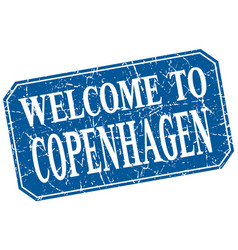 Welcome to copenhagen blue square grunge stamp vector