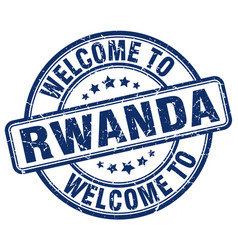 Welcome to rwanda blue round vintage stamp vector