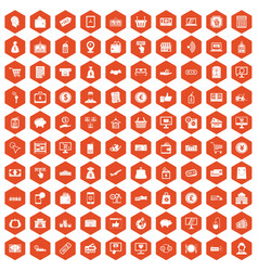 100 payment icons hexagon orange vector image vector image