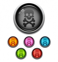 Skull button icon vector