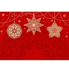 Retro christmas background with white snowflakes vector