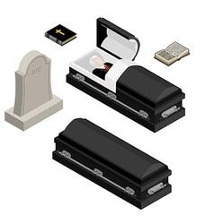 Funeral set dead man in coffin open black casket vector