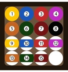 Set of color american billiard balls vector