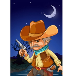 Nighttime cowboy vector