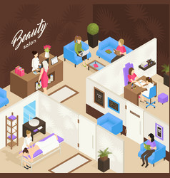 beauty salon isometric design concept vector image