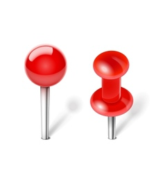 Red push pin vector