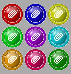 Paper clip icon sign symbol on nine round vector