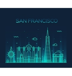 San Francisco City Trendy line art style vector image