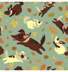Funny dogs playing with autumn leaves vector