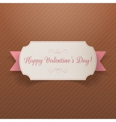 Realistic valentines day greeting paper banner vector