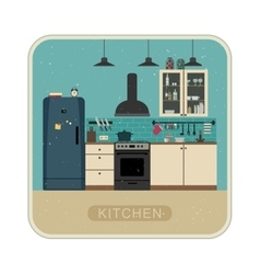 Retro kitchen interior vector