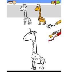 Drawing and coloring task with giraffe vector