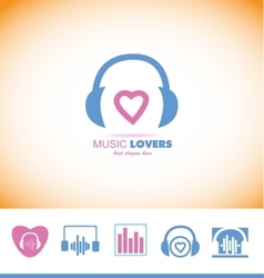 Music logo headphones love heart vector