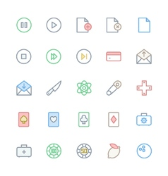 User interface colored line icons 12 vector