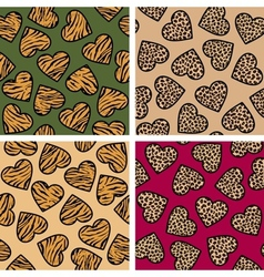 Animal print hearts set vector image vector image