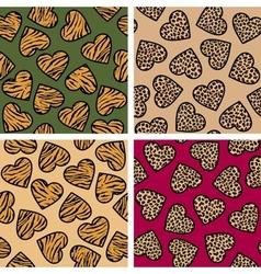 Animal print hearts set vector image