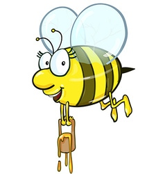 Bee cartoon holding honey bucket vector image vector image