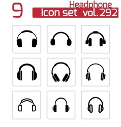 black headphone icons set vector image vector image