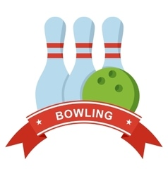 bowling logo on blue vector image vector image