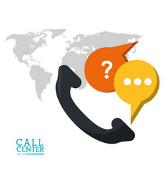 Call center phone support world vector