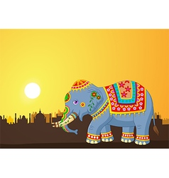Cartoon elephant wearing traditional costume vector image