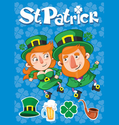 Cartoon st patrick day poster vector