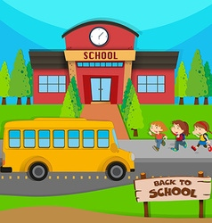 Children and school bus at school vector image vector image