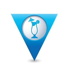 coctail icon on map pointer blue vector image vector image
