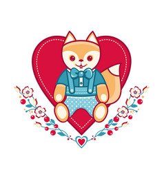 Cute fox greeting card vector