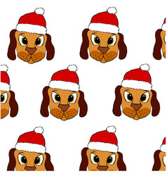 Cute puppy in red christmas hat vector