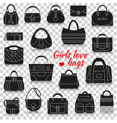 different women bags silhouette icons with vector image