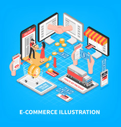 Electronic commerce isometric vector