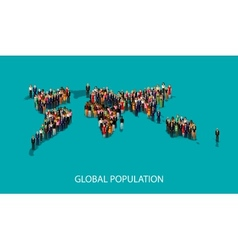 Flat of people standing on the world global map vector