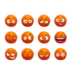 funny orange round characters set vector image