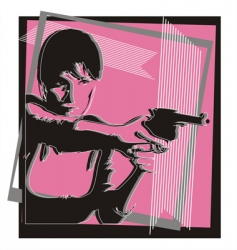 Girl with a gun vector