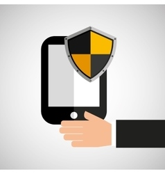 Hand hold smartphone protection shield vector