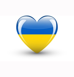 Heart-shaped icon with national flag of Ukraine vector image