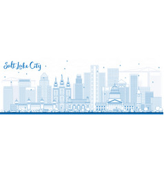 Outline salt lake city skyline with blue buildings vector