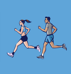 People running set vector