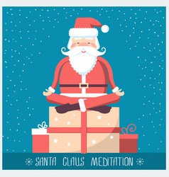 Santa claus doing yoga meditation and sitting on vector