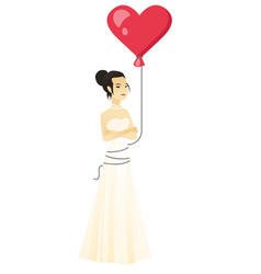 serious bride with a heart-shaped red balloon vector image