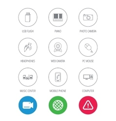 Smartphone web camera and USB flash icons vector image vector image