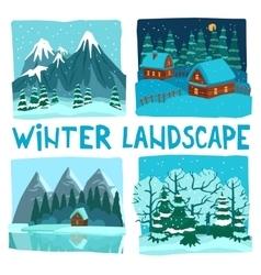 Winter landscape digital graphic set vector