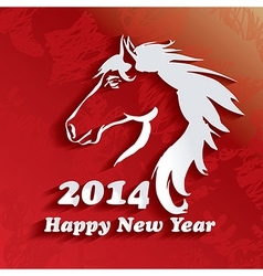 Year of the Horse Happy New Year 2014 vector image