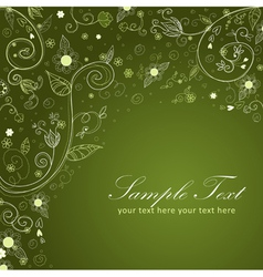 Floral twirl postcard green vector image
