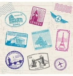 Travel stamps with Europe countries landmarks vector image