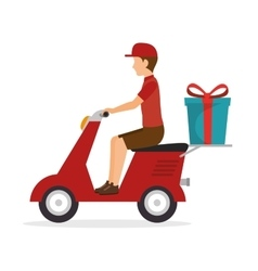 Man ride scooter delivery gift icon vector
